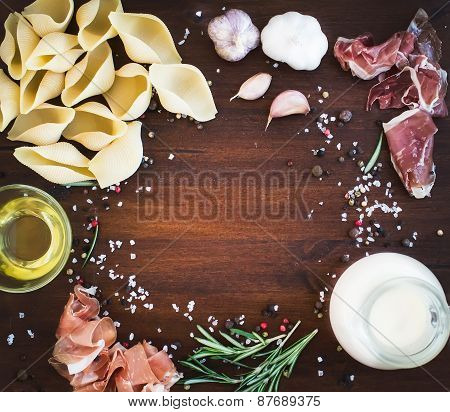 Carbonara Pasta Ingredients: Conchiglioni, Bacon, A Jug Of Cream, Olive Oil, Garlic, Fresh Herbs And