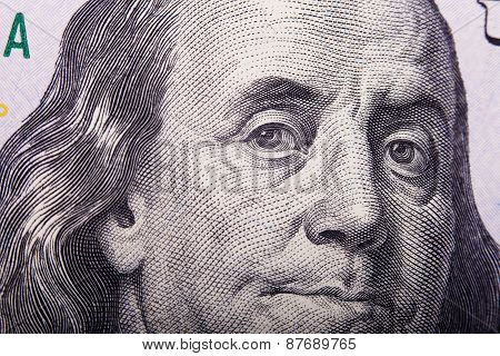 Portrait of Benjamin Franklin from one hundred dollars bill new edition.