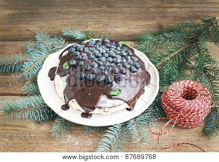Christmas Chocolate Celebration Cake With Chocolate Ganache, Cream-cheese Filling, Fresh Blueberries