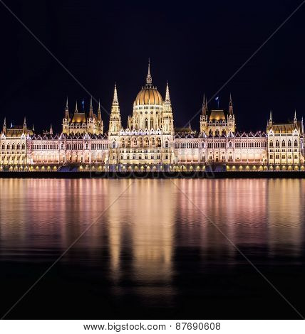 The Building Of The Budapest Parlament At Night From The Buda Coast
