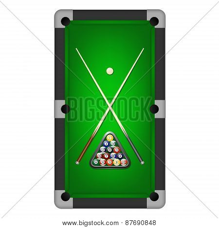 Billiards Balls, Triangle And Two Cues On A Pool Table. Vector Eps10 Illustration.