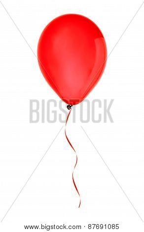 Red Happy Air Flying Balloon Isolated On White