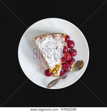 A Piece Of Custard Cherry Pie On A White Ceramic Dessert Plate