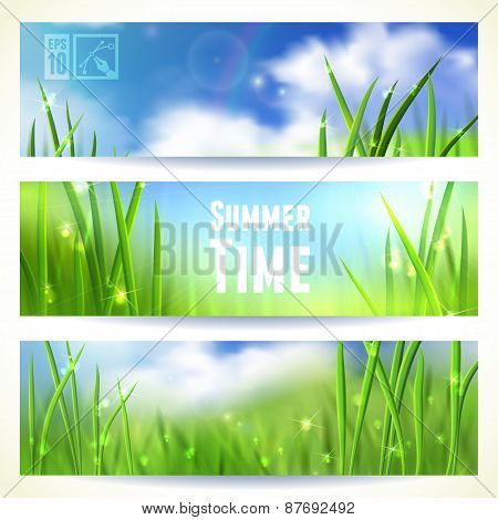 Set of Horizontal Banners with Grass and Skies. Vector illustration, eps10, editable.