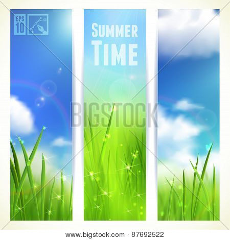 Set of Vertical Banners with Grass and Skies. Vector illustration, eps10, editable.