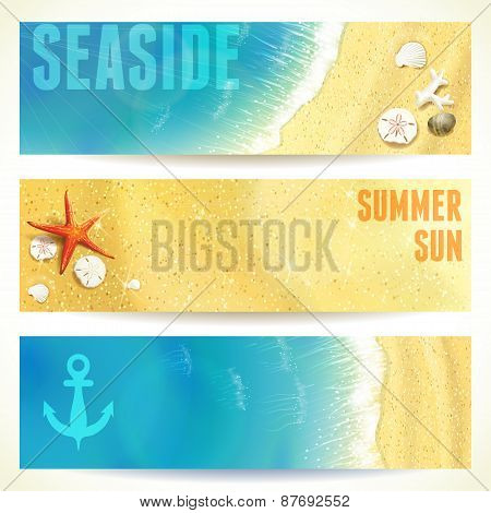 Set of Horizontal Banners with Seaside and Starfish. Vector illustration, eps10, editable.
