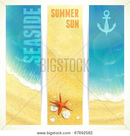 Set of Vertical Banners with Seaside and Starfish. Vector illustration, eps10, editable.