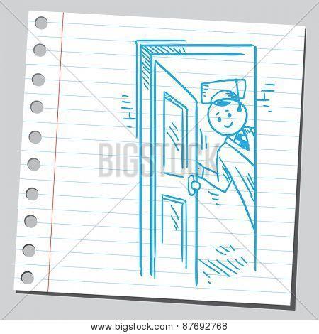 Graduate student opening door