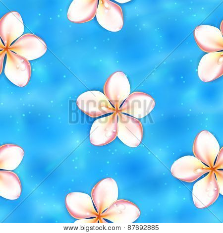 Flowers on the Water Surface, Seamless Background. Raster version.