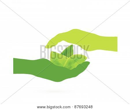 Hands With Leaves Design