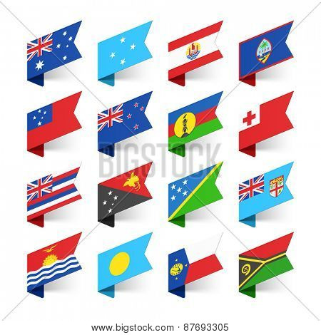Flags of the World, Oceania, vector illustration