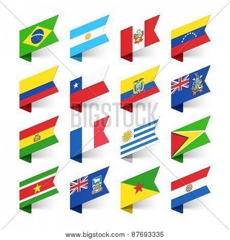 Flags of the World, South America, vector illustration