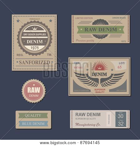 Vintage Labels denim typography, t-shirt, s, carton, emblems set