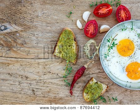 Breakfast Set With Fried Egg On A Wooden Desk