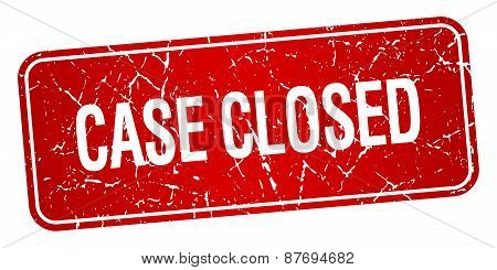 Case Closed Red Square Grunge Textured Isolated Stamp