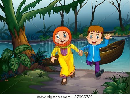 Muslim couple holding hands in the forest