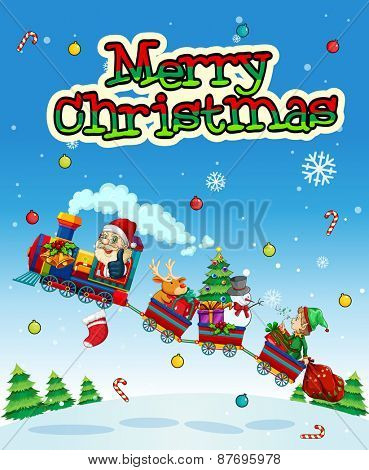 Christmas poster with Santa on the train