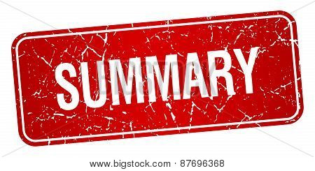 Summary Red Square Grunge Textured Isolated Stamp
