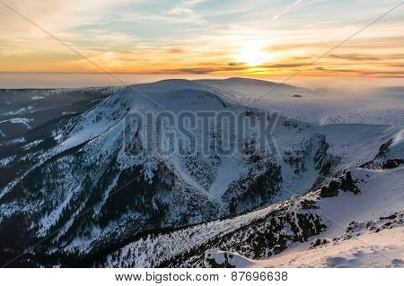 The Beautiful Sunset In Mountains
