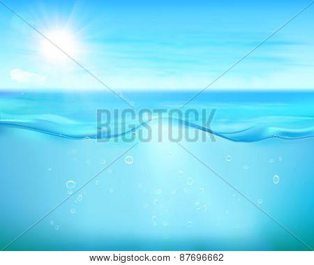 Bubbles in blue sea. Vector Illustration.