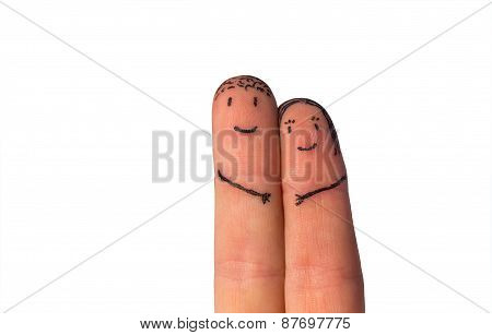 Romantic Fingers On A White Background