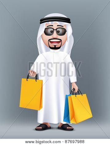 Realistic 3D Rich Saudi Arab Man Character Wearing