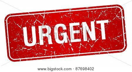 Urgent Red Square Grunge Textured Isolated Stamp