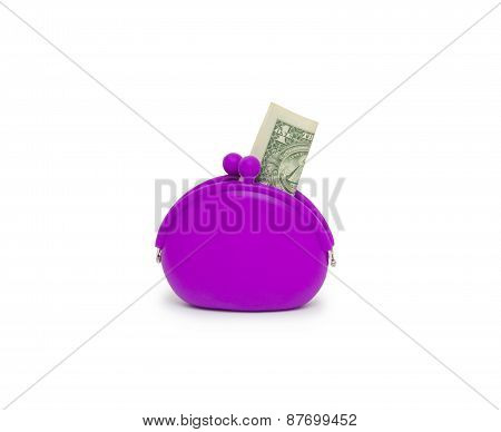 Purse With One Dollar Banknotes Isolated On White Background Cutout