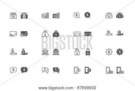 Money outline and filled icon set