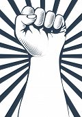 picture of clenched fist  - Black and White vector illustration of a clenched fist held high in protest - JPG