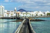 pic of canary  - sea view at Castle of San Gabriel and Arrrecife Lanzarote Canary Islands Spain - JPG