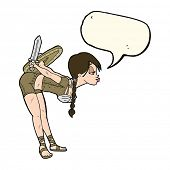 picture of valkyrie  - cartoon viking girl bowing with speech bubble - JPG
