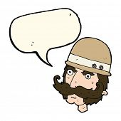 foto of hunter  - cartoon victorian big game hunter with speech bubble - JPG