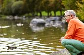 foto of duck pond  - Profile of aged man in glasses sitting near pond in park watching ducks - JPG