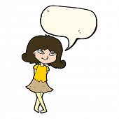 picture of clever  - cartoon clever girl with speech bubble - JPG