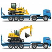 image of excavator  - Trailer with bulldozer and excavator - JPG