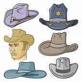 picture of cowboy  - Collection of cowboy hats isolated on white - JPG