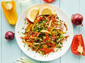 picture of vinegar  - Spring salad with bell pepper spanish onion leek and blackberry vinegar - JPG