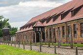 picture of auschwitz  - German concentration camp Auschwitz in Poland in summer day - JPG