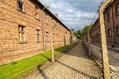stock photo of auschwitz  - German concentration camp Auschwitz in Poland in summer day - JPG