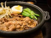 image of bean sprouts  - Grill pork on the pan with cowpea boiled egg bean sprouts  - JPG