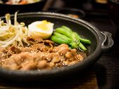 picture of bean sprouts  - Grill pork on the pan with cowpea boiled egg bean sprouts  - JPG