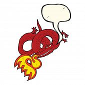 picture of fire-breathing  - cartoon dragon breathing fire with speech bubble - JPG