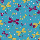 picture of dragonflies  - seamless pattern with dragonflies and rain drops - JPG