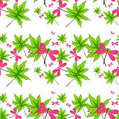 foto of dragonflies  - seamless pattern with leaves and dragonflies on white background - JPG