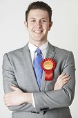 stock photo of labourer  - Portrait Of Labour Politician Against White Background - JPG