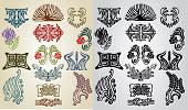 stock photo of art nouveau  - big set element pattern collection art nouveau - JPG