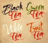 picture of black tea  - Drawn names of different kinds of tea - JPG