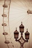 stock photo of westminster bridge  - Vintage lamp post on Westminster Bridge in London in black and white - JPG