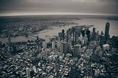 stock photo of freedom tower  - New York City Manhattan downtown aerial view with bridges - JPG